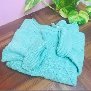 vtg vsco 90s Tiffany blue chunky oversized sweater